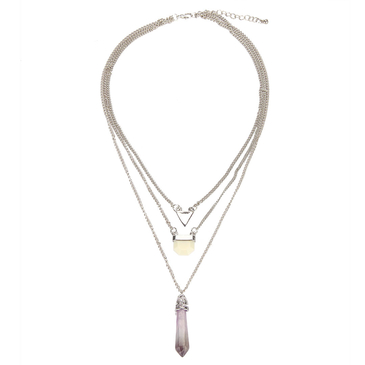 Lariat Multirow Artificial Crystal Necklace