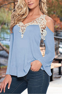 Light Blue Fashion Lace Flared Sleeve T-shirt