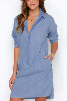 Fashion Denim Shirt Dress with Curved Hem
