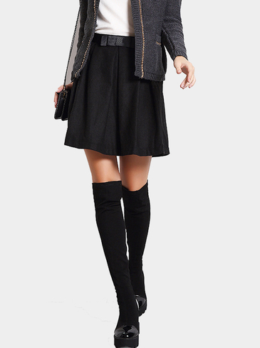 Black Pleated A-line Skirt with Bow Detail