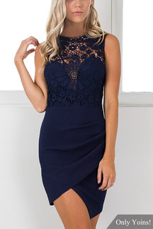 Sleeveless Wrap Front Mini Dress with Crochet Lace Details