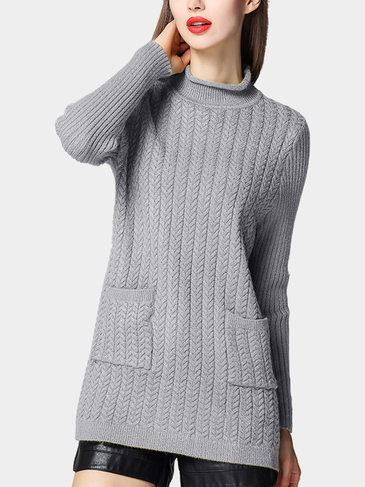 Longline Cable Knit High Neck Sweater Dress in Gray