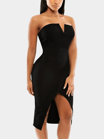 V-cutout Front Split Bandeau Midi Dress in Black