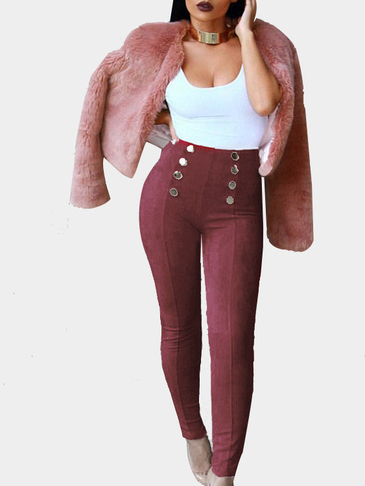 Burgundy Suede Button Embellished Pants