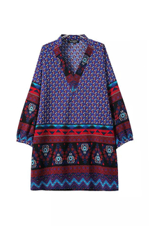 Printed Folk Shirt Dress