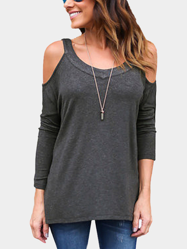 Dark Grey Casual Loose Design Cold Shoulder Backless Top