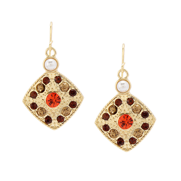 Diamond And Bead Drop Earrings
