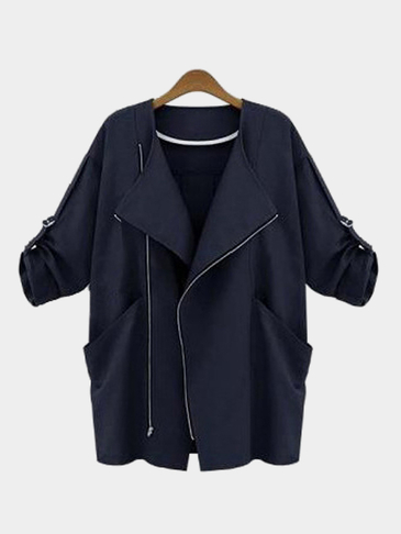 Dark Blue Pocket Roll Up Turndown Collar Winter Outerwear