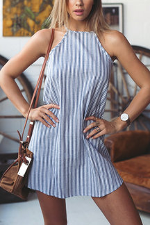 Stripe Pattern Sleeveless Round Neck Mini Dress