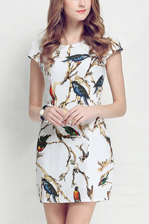Body-Conscious Mini Dress in Bird Print