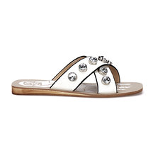 White Artificial Diamond Embellished Cross Strap Front Shoe Sole Print Slippers