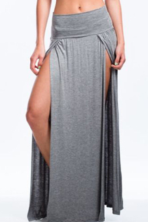 Gray Retro Front Slit Sexy Beach Skirt
