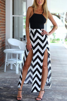 Sleeveless Wave Print Side Split Cami Maxi Dress