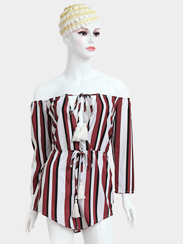 Stripe Pattern Off-shoulder Tie Front With Tassel Playsuit