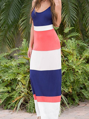 Color Block Round Neck Maxi Dress With Cami Strap