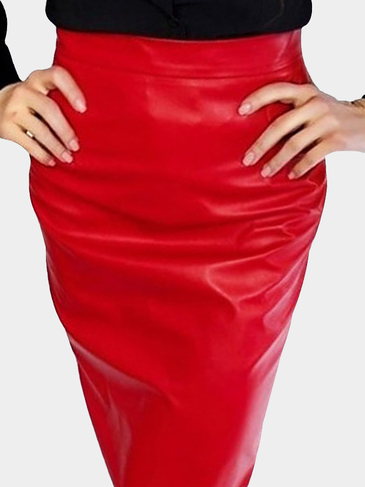 Leather Look Pencil Skirt in Red