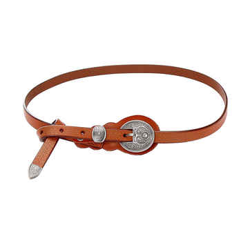 Carving Embellished Skinny Buckle Waist Belt in Brown