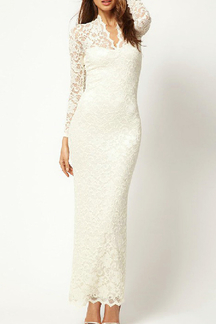 White Lace Maxi Fishtail Dress
