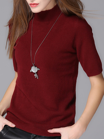 Wine Half Sleeves Knit Sweater