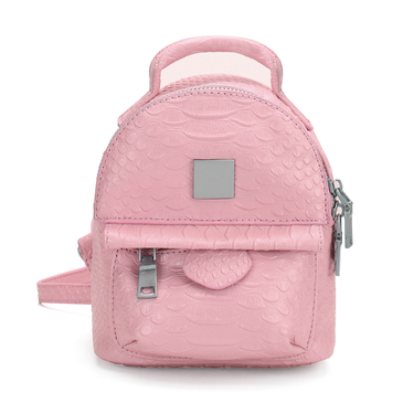 Snake Leather-look Mini Backpack in Pink