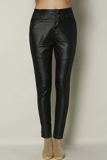 Black Zip & Button Closure Front Fold Leather Trousers