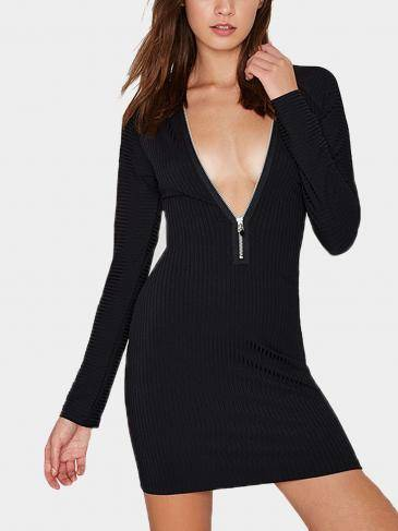 Zipper Ribbed Knit Mini Dress In Black