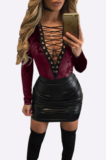 Burgundy Velvet Deep V Lace-up Front Design Bodysuits