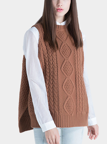 Light Tan Side Split Knitted Vest with High Low Hem