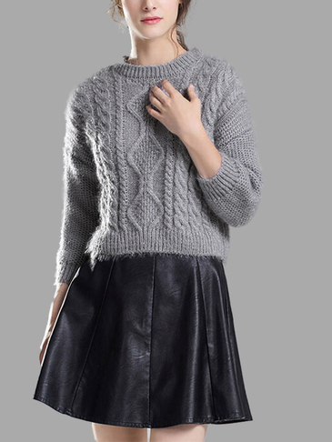 Grey Long Sleeves Causal Jumper with Back Splited Design