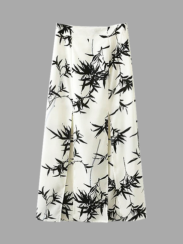 Bamboo Print Splited Hem Maxi Skirt