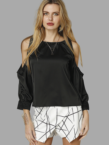 Black Round Neck Cold Shoulder Blouse