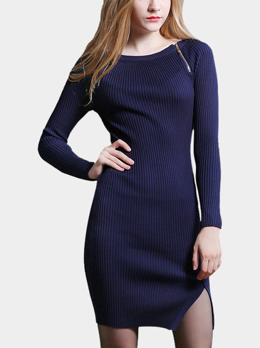 Navy Zipper Knitted Ladies Dress