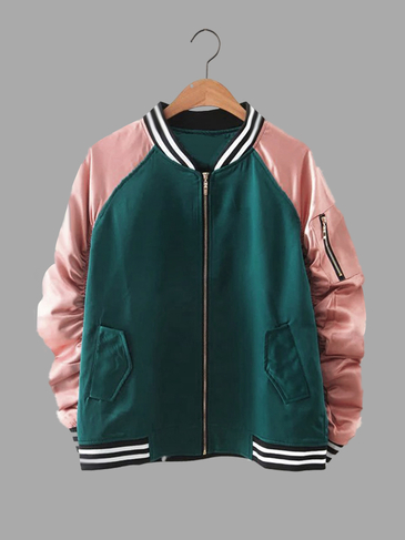 Складки втулки нашивки Деталь Zipper Bomber Jacket
