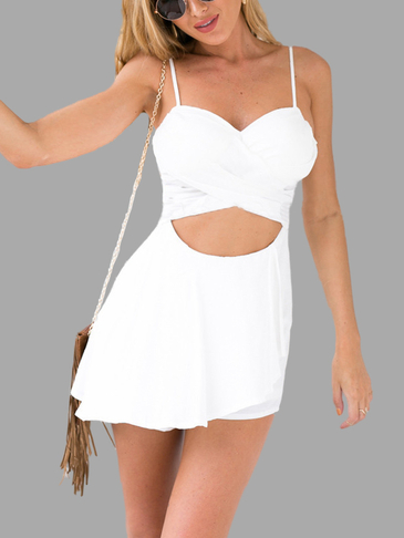White Sleeveless Playsuit with Cutout Details