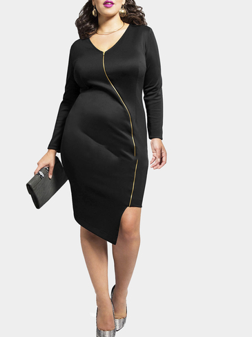 Plus Size Black Zipper Irregular Dress
