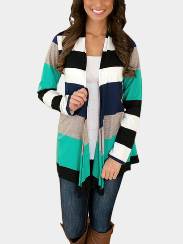 Open Front Multicolor Stripe Print Cardigan