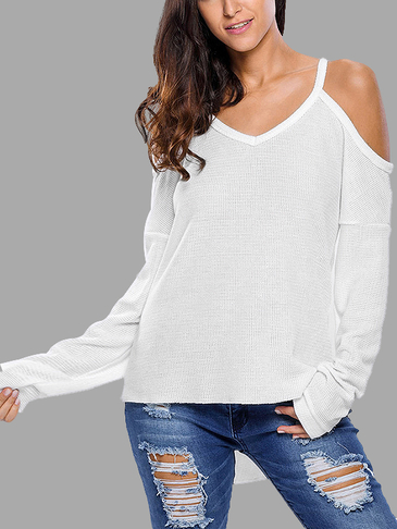White V Neck Sexy Cold Shoulder Jumpers