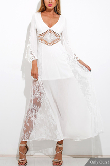 White Plunge V-neck Hollow Out Lace Maxi Dress