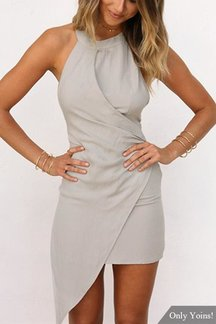 Halter Sleeveless Wrap Front Open Back Mini Dress