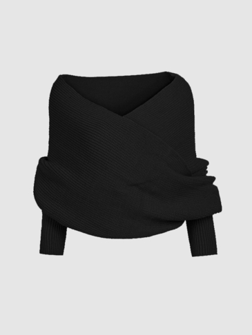 Black Cross Front Design Knit Cape