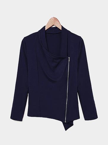 Long Sleeve Top in Navy with Asymmetric Zip Fastening
