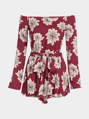 Red Random Floral Print Off-shoulder Waist Belt Playsuit