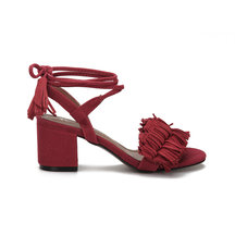 Red Block Heel Pointed Open Toe Lace-up Strap Sandals With Tassel Trim