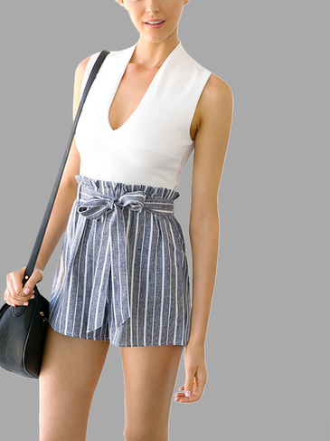 Sleeveless Top & Stripe Pattern Belt Self-tie Co-ord