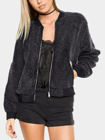 Grey Thickened Stand-up Collar Woolen Coat