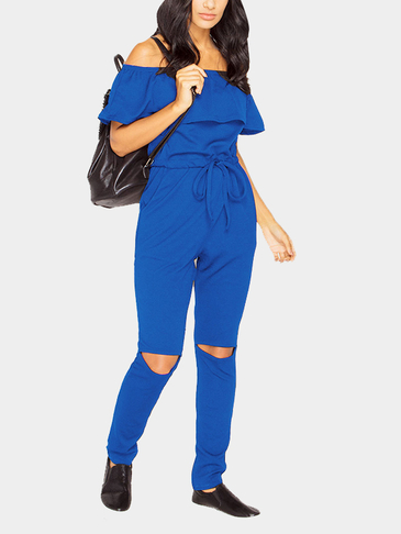 Blue Off Shoulder Drawstring Waist Side Pockets Jumpsuit with Rips Details