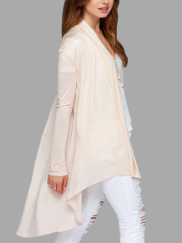 Sheer-through Cream Long Sleeves knitted Cardigan