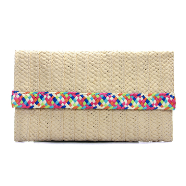 Woven Straw Clutch Bag in Beige