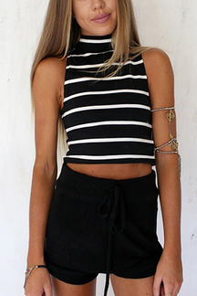 Black and White Stripe High Neck Crop Top