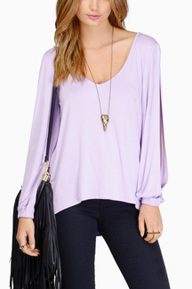 V-neck Cut Out Sleeves Blouse in Light Purple
